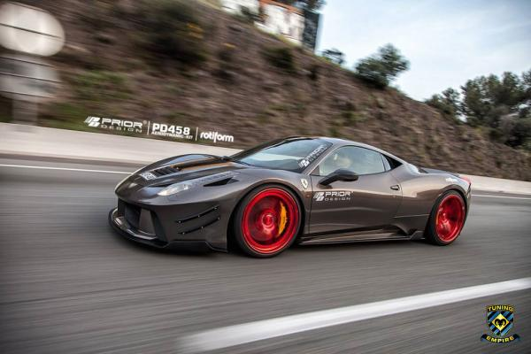 Prior Design Ferrari 458 Italia rolling on Rotiform Wheels