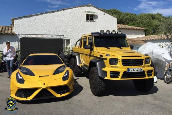 Yellow Mansory Ferrari F12 Stallone and Mercedes G63 AMG 6×6